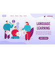 language learning online service landing page vector image