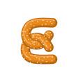 letter e pretzel snack font symbol food alphabet vector image vector image