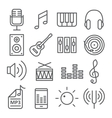 Music icons in trendy linear style vector image vector image