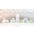 olympia washington city skyline in paper cut vector image vector image