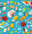 online shopping isometric seamless pattern vector image