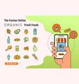 order fresh organic foods online from app vector image