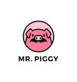 pig moustache head round emblem logo icon vector image