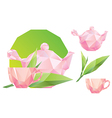 polygon pink teacup and kettle vector image vector image