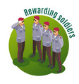 rewarding soldiers isometric composition vector image vector image