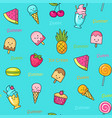 seamless doodle pattern with idifferent fun sweets vector image vector image