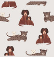 seamless pattern with cat and kitten dog and vector image vector image