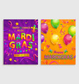 set flyers for mardigras carnival party vector image vector image