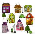 set of stylized isolated fairy houses and trees on vector image