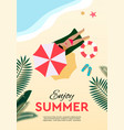 summer holidays and tropical vacation poster or vector image vector image