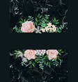 template with pink flowers on black marble vector image vector image