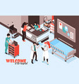 welcome hospital isometric background vector image vector image