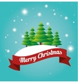 beauty card merry christmas tree snow label design vector image