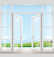door with window to the terrace vector image