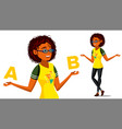 afro american woman comparing a with b vector image vector image