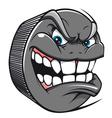 Angry hockey puck mascot vector image vector image