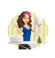 Beautiful girl with iron and vector image vector image