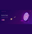 business target isometric dart board with arrow vector image vector image