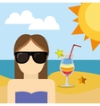 character girl with sunglasses beach cocktail sun vector image