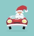 christmas card of santa claus driving his car vector image