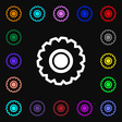 cogwheel icon sign Lots of colorful symbols for vector image