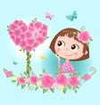 cute cartoon girl in a wreath roses flowers vector image vector image