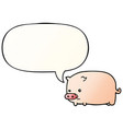 cute cartoon pig and speech bubble in smooth vector image vector image