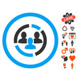 demography diagram icon with lovely bonus vector image vector image