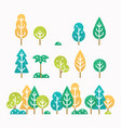 different trees and bushes set vector image