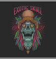 exotic skull head tropical vector image vector image