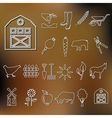 farm outline icons vector image