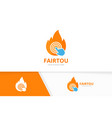 fire and click logo combination flame and vector image vector image