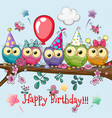 five owls on a brunch with balloon and bonnets vector image