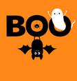 flying ghost spirit hanging bat boo text