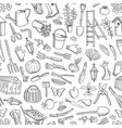 gardening doodle icons background vector image vector image