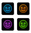 glowing neon smile face icon isolated on white vector image