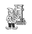 gnome typographer engraving vector image