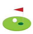 golf flag with ball flat style design vector image vector image