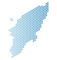 greek rhodes island map hex-tile scheme vector image vector image