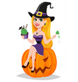 halloween greeting card beautiful lady witch vector image vector image