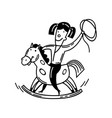 happy little child and a rocking horse cartoon vector image vector image