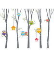 happy owl background with tree branch vector image vector image