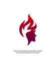 head fire logo concept mind fire logo spirit vector image