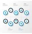 interface icons colored set with link comment vector image