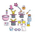 magic trick icons set cartoon style vector image