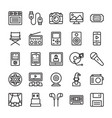 media and entertainment line icons vector image