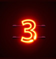neon city font sign number 3 signboard three vector image vector image