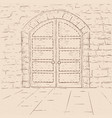 old castle doors hand drawn sketch on beige vector image