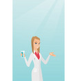pharmacist giving pills and a glass of water vector image vector image