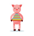 pink cartoon piglet standing with a cake vector image vector image